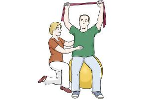 Krankengymnastik (Quelle: Lebenshilfe für Menschen mit geistiger Behinderung Bremen e.V., Illustrator Stefan Albers, Atelier Fleetinsel, 2013)